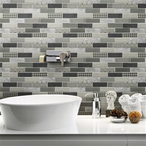Bestview Multi Colors/Multi Brick Mosaic Glass Wall Tile (Common: 12-in x 10-in; Actual: 11.73-in x 10.31-in)