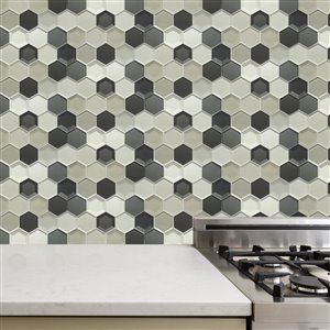 Bestview Multi Colors/Glossy Honeycomb Mosaic Glass Wall Tile (Common: 12-in x 10-in; Actual: 11.81-in x 10.24-in)
