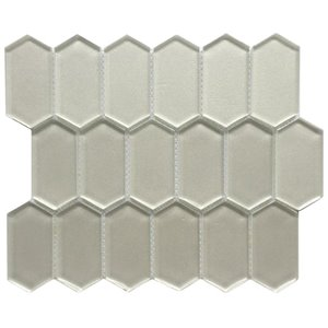 Bestview Silver/Glossy Honeycomb Mosaic Glass Wall Tile (Common: 12-in x 10-in; Actual: 11.73-in x 10.16-in)