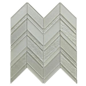 Bestview Silver/Glossy Chevron Mosaic Glass Wall Tile (Common: 12-in x 12-in; Actual: 12-in x 11.73-in)