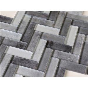 Bestview Grey/Hand-Painted Herringbone Mosaic Glass Wall Tile (Common: 12-in x 11-in; Actual: 12.4-in x 11.02-in)