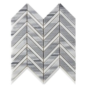 Bestview White and Grey/Polished Chevron Mosaic Natural Stone Marble Floor and Wall Tile (Common: 11-in x 12-in; Actual: 11.42-in x 12.2-in)