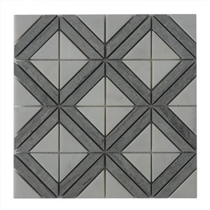 Bestview White and Blue/Honed and Polished Uniform Squares Mosaic Natural Stone Marble Floor and Wall Tile (Common: 12-in x 12-in; Actual: 12-in x 12-in)