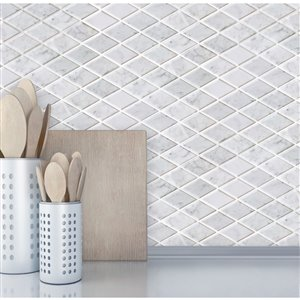 Bestview White/Polished Diamond Mosaic Natural Stone Marble Wall Tile (Common: 11-in x 12-in; Actual: 11.42-in x 11.81-in)
