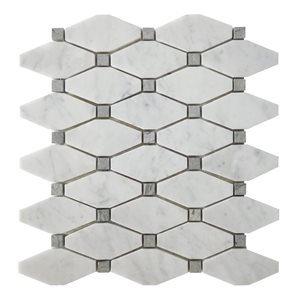 Bestview White/Honed and Polished Mixed Pattern Mosaic Natural Stone Marble Floor and Wall Tile (Common: 11-in x 12-in; Actual: 10.63-in x 11.61-in)
