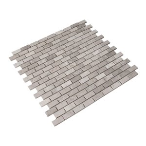 Bestview Wooden White/Honed Brick Mosaic Natural Stone Marble Floor and Wall Tile (Common: 12-in x 12-in; Actual: 12-in x 12-in)