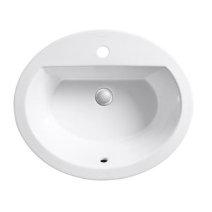 KOHLER Bryant White Drop-in Oval Bathroom Sink with Overflow