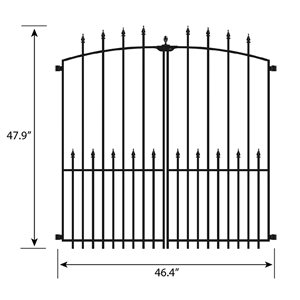 No Dig Grand Empire XL 4-ft x 4-ft Powder-Coated Steel Decorative Fence Gate