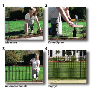 No Dig 2.1-ft x 3.05-ft Grand Empire XL Powder-Coated Steel Fence Panel