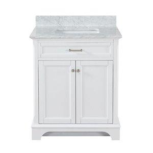 Scott Living Roveland 30-in Single Sink White Bathroom Vanity With Marble Top