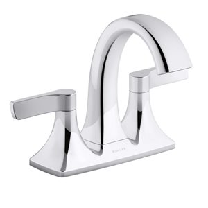 KOHLER Maxton Polished Chrome 2-Handle 4-in Centerset WaterSense Bathroom Sink Faucet with Drain