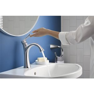 KOHLER Lilyfield Polished Chrome 1-Handle Single Hole 4-in Centerset WaterSense Bathroom Sink Faucet with Drain