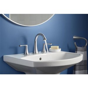 KOHLER Lilyfield Polished Chrome 2-Handle Widespread WaterSense Bathroom Sink Faucet with Drain (Valve Included)
