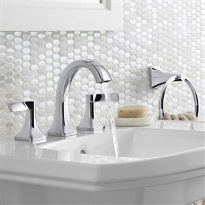 KOHLER Maxton Polished Chrome 2-Handle Widespread WaterSense Bathroom Sink Faucet with Drain