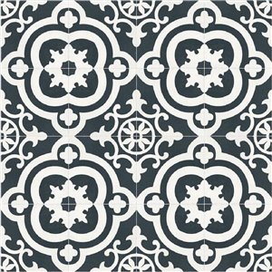 DELLA TORRE 8-in x 8-in Cementina Black and White Ceramic Floor and Wall Tile