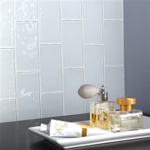 American Olean 3 In X 6 In Handcrafted White Glass Wall