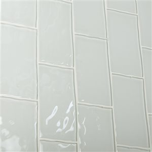 American Olean 3-in x 6-in Handcrafted White Glass Wall Subway Tile