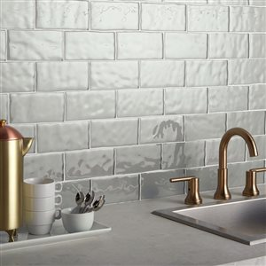 American Olean 3-in x 6-in Handcrafted Gray Glass Wall Subway Tile