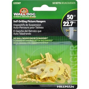 Hillman Brass Self-Drilling Picture Hangers