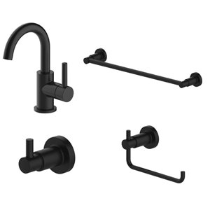 Jacuzzi Matte Black 1-Handle Single Hole 4-in Centerset WaterSense Bathroom Sink Faucet with Drain (Valve Included)