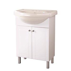 FACTO 24-in 2-Door White Bathroom Vanity with Ceramic Top