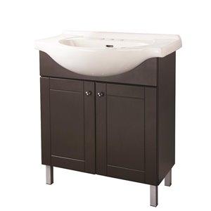 FACTO 30-in 2-Door Chocolate Bathroom Vanity with Ceramic Top