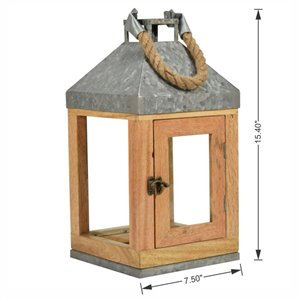 15-in Wood and Galvanized Metal Outdoor Lantern