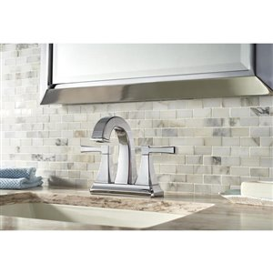 Pfister Halifax Polished Chrome 2-Handle 4-in Centerset WaterSense Bathroom Sink Faucet with Drain (Valve Included)