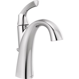 DELTA Sandover Chrome 1-Handle Single Hole 4-in Centerset WaterSense Bathroom Sink Faucet with Drain (Valve Included)