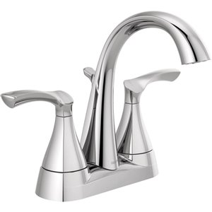 DELTA Sandover Chrome 2-Handle 4-in Centerset WaterSense Bathroom Sink Faucet with Drain (Valve Included)