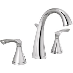 DELTA Sandover Chrome 2-Handle Widespread WaterSense Bathroom Sink Faucet with Drain (Valve Included)