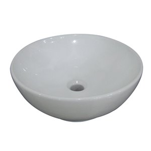 AquaSource 6.15-in D White Vitreous China Round Vessel Sink
