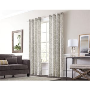 allen + roth Lapeer 95-in Graphite Cotton Grommet Light Filtering Single Curtain Panel