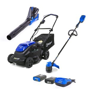 Kobalt 40-Volt Lithium-Ion Cordless Lawn Mower, String Trimmer, and Axial Blower Combo Kit