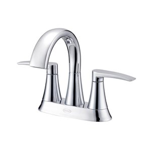 Jacuzzi Lyndsay Chrome 2-Handle 4-in Centerset WaterSense Bathroom Sink Faucet with Drain (Valve Included)