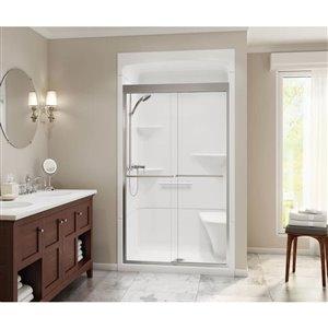 MAAX Camelia White Acrylic Wall 3-Piece Alcove Shower Kit Shower