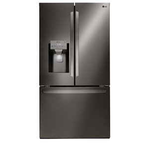 LG 36-in 27.9-cu ft 3-Door French Door Refrigerator with Single Ice Maker (Fingerprint-Resistant Black Stainless Steel) ENERGY STAR