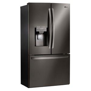 LG 36-in 27.9-cu ft 3-Door French Door Refrigerator with Single Ice Maker (Fingerprint-Resistant Black Stainless Steel) ENERGY STAR