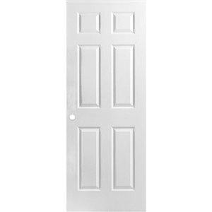 36-in x 80-in Primed 6 Panel Textured Interior Machined Slab Door