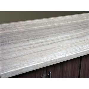 BELANGER Fine Laminate Countertops Laminate Counter Top 96 In. x 25,5 In., 3458-FX34 Travertine Silver