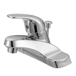 Project Source Chrome 1-Handle 4-in Centerset Bathroom Sink Faucet with Drain (Valve Included)