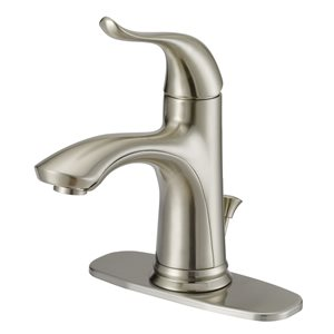 Project Source Brushed Nickel 1-Handle Single Hole 4-in Centerset Bathroom Sink Faucet with Drain (Valve Included)