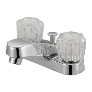 Project Source Chrome 2-Handle 4-in Centerset Bathroom Sink Faucet with Drain (Valve Included)