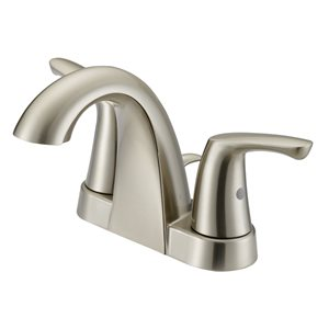 Project Source Brushed Nickel 2-Handle 4-in Centerset Bathroom Sink Faucet with Drain (Valve Included)