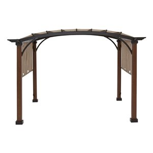 allen + roth 116.14-in W x 116.14-in L x 94.3-in H Tan/Black Material Freestanding Pergola Canopy Included