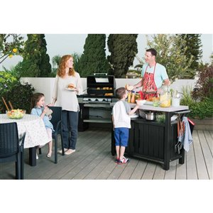 Keter 78-gal Graphite Grey Grill Prep and Storage Cart