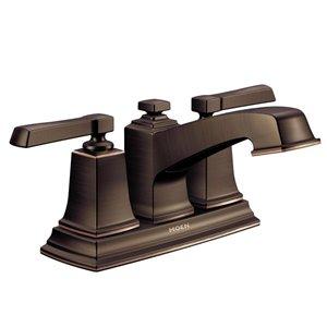 Moen Boardwalk Mediterranean Bronze 2-Handle 4-in Centerset WaterSense Bathroom Sink Faucet with Drain (Valve Included)
