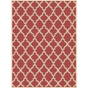 8-ft x 10-ft Red Trellis Woven Outdoor Area Rug