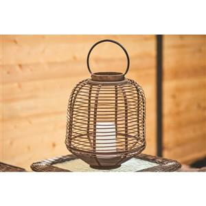 15-in Brown Bamboo Outdoor Lantern