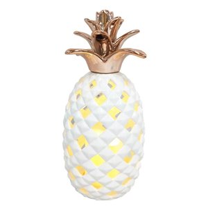 12-in LED White Ceramic Pineapple Candle with Rose Gold Topper